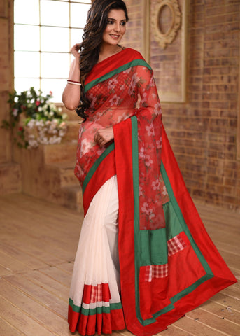 Printed red organza & off white chanderi combination saree