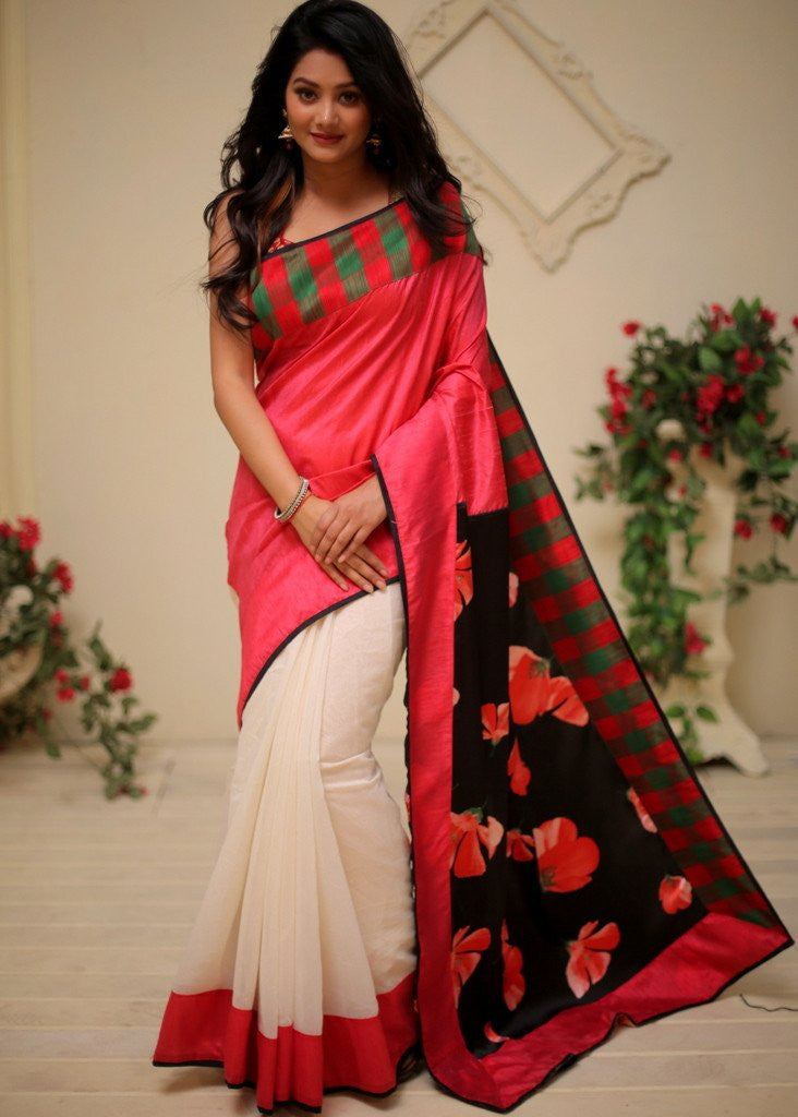 Saree - Printed Satin Pallu With Pure Pink Raw Silk In Front  With White Chanderi Pleats