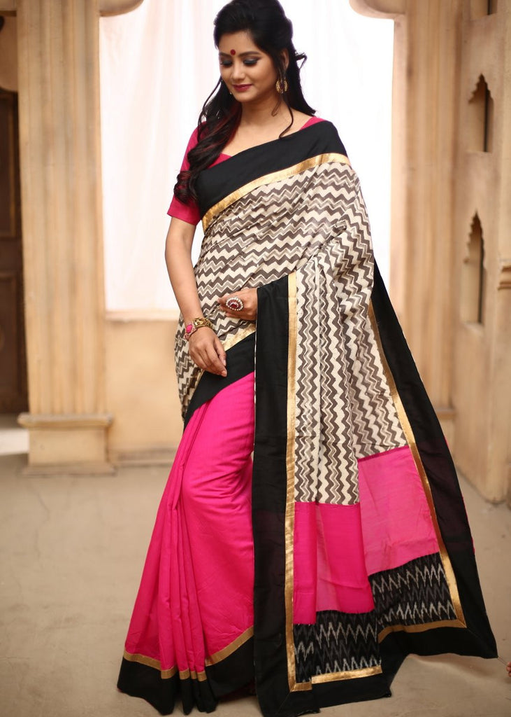 Saree - Printed Zig Zag Cotton In Front With Pink Chanderi Pleats & Black Border