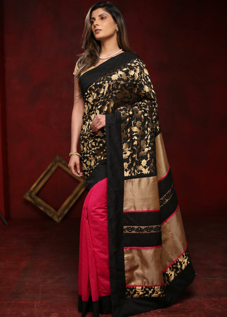 Saree - Pure Benarasi Silk With Pink Chanderi Pleats & Gold Zari Pallu Saree