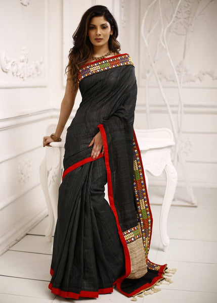 Pure black ghicha silk saree with elegant lace border - Sujatra