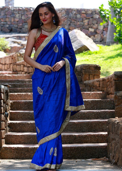 Pure Blue Raw Silk with Zardosi Work - Sujatra