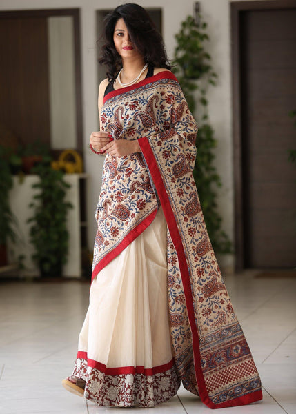 Pure chanderi printed saree elegantly combined with beige chanderi pleatts - Sujatra