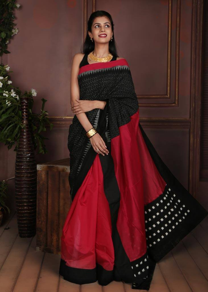 Pure Cotton With Ikat Work saree
