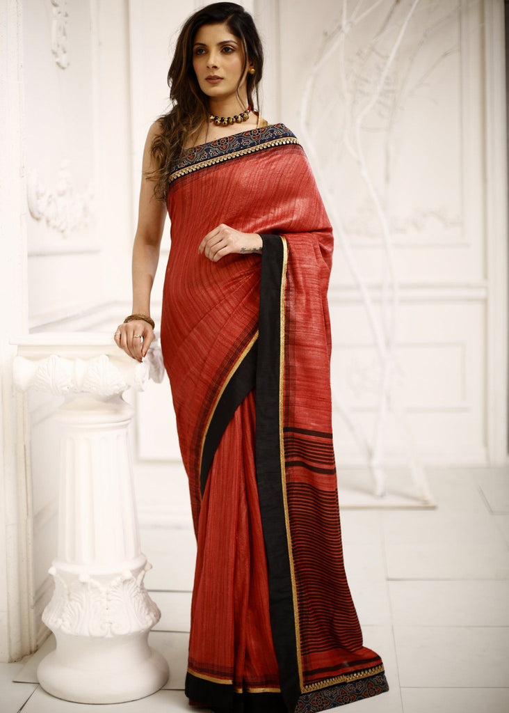 Saree - Pure Ghicha Silk Saree With Ajrakh Border