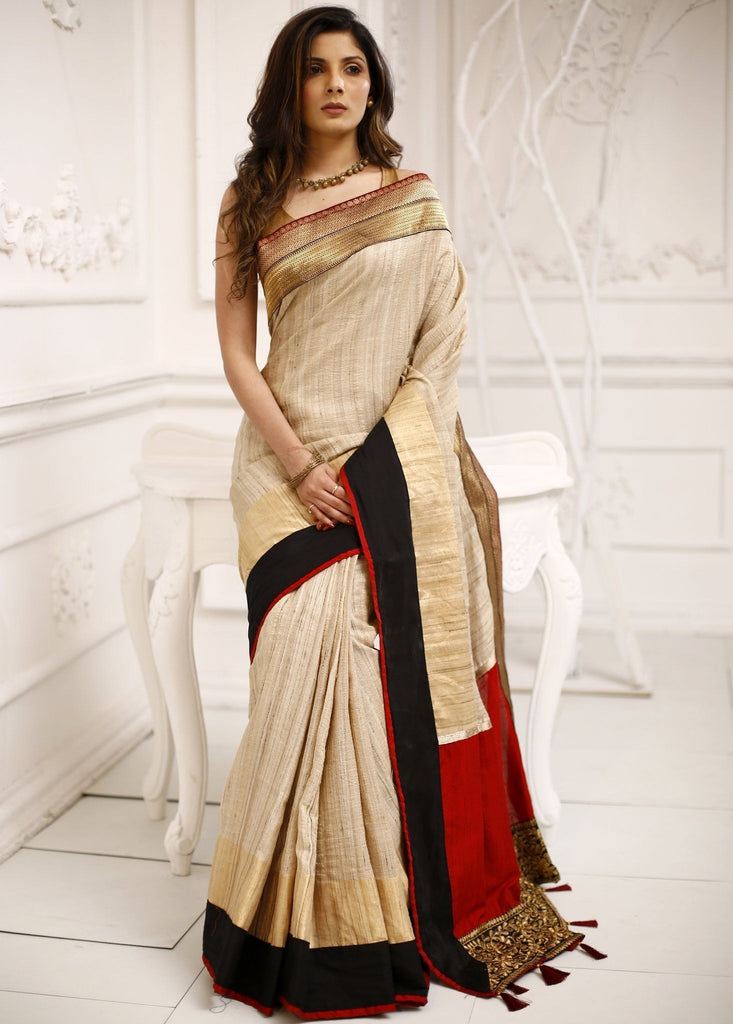 Saree - Pure Ghicha Silk Saree With Exquisite Zari Border