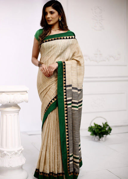 Pure ghicha silk saree with geometric border - Sujatra