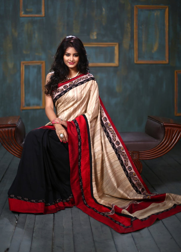 Pure Ghicha silk saree with kalamkari border & semi silk black pleats - Sujatra