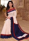 Saree - Pure Handloom Cotton Ikat Saree With Hand Batik Border