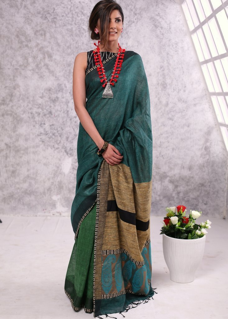 Saree - Pure Linen Saree With Ghicha Silk Pallu And Benarasi Patch