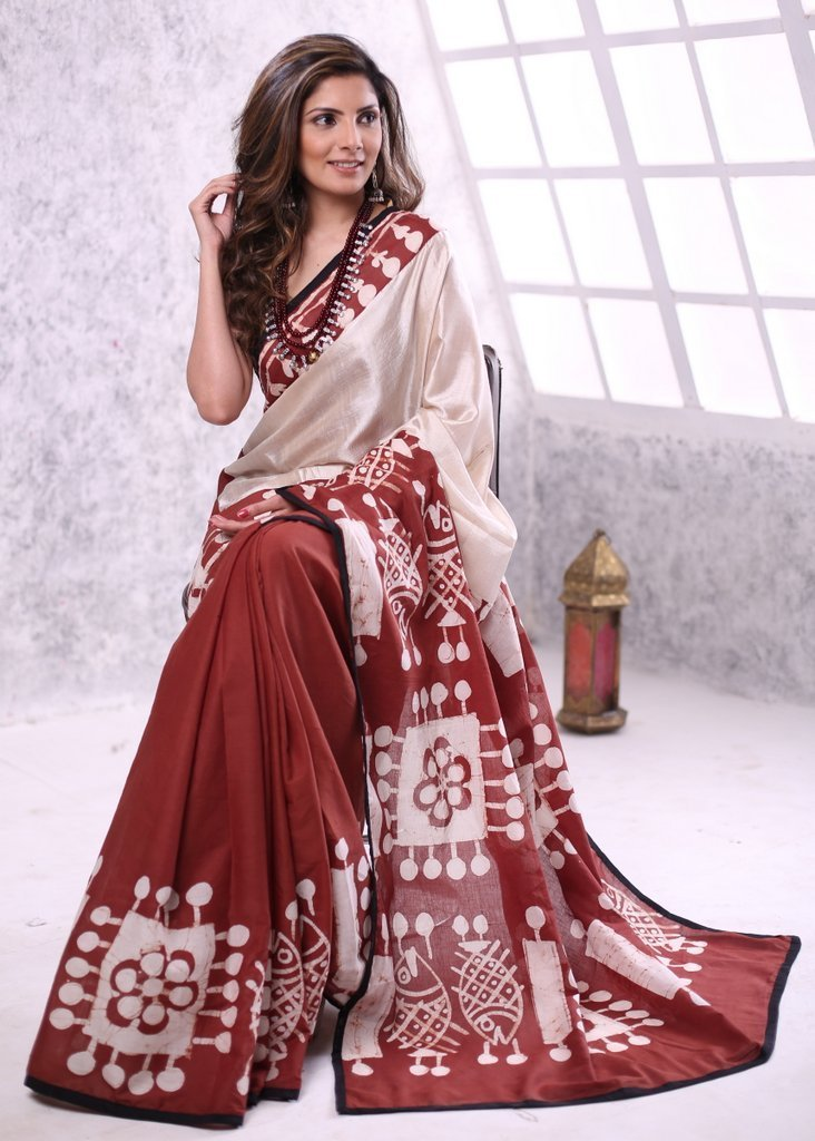 Saree - Pure Tasar Silk With Exclusive Cotton Hand Batik Combination Saree