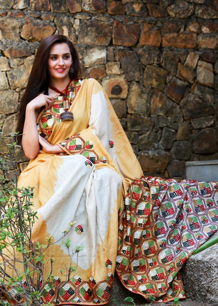 Pure tasar silk with phulkari work on entire saree - Sujatra