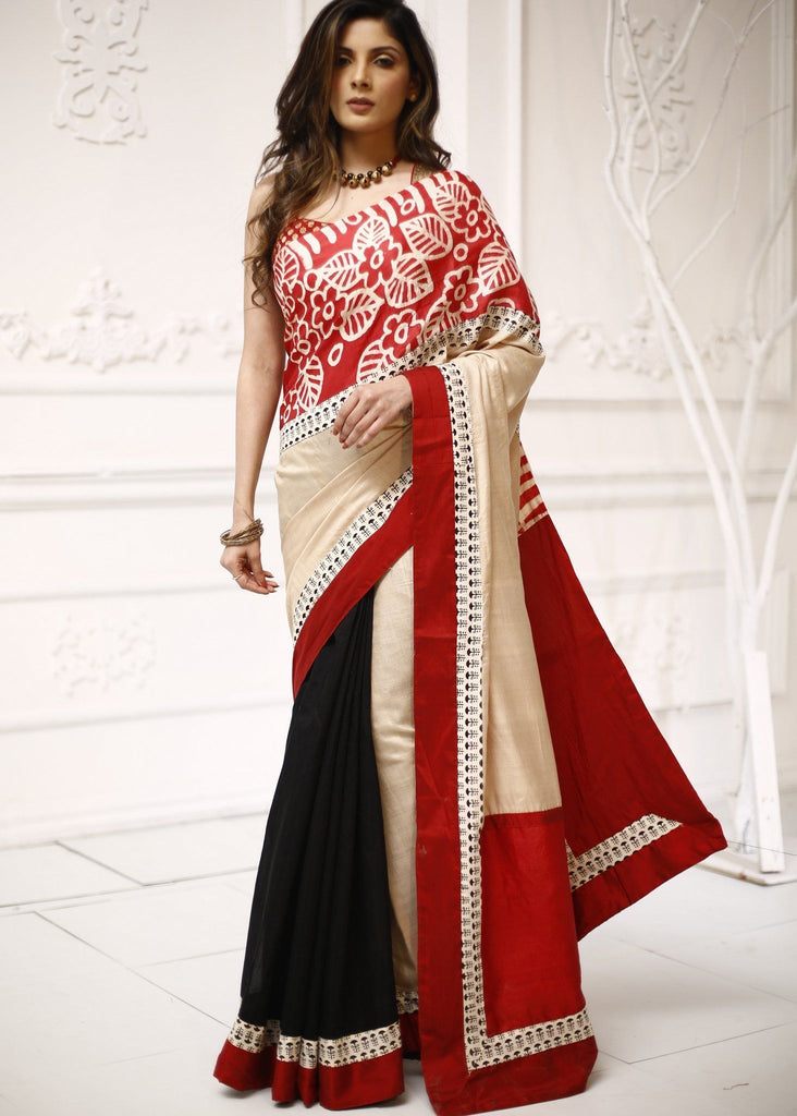 Saree - Pure Tassar Silk With Hand Batik Combination With Black Chanderi Pleats Saree