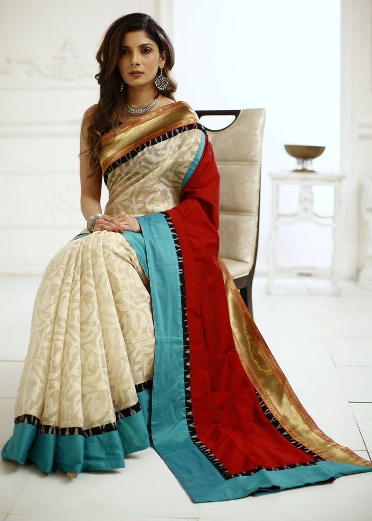 Saree - Pure Tissue With Exclusive Zari & Red Cotton Silk Combination Saree