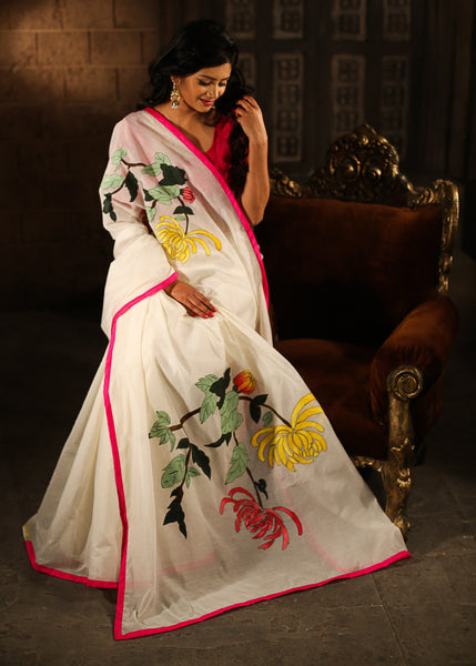 Saree - Pure White Chanderi With Hand Painting All Over