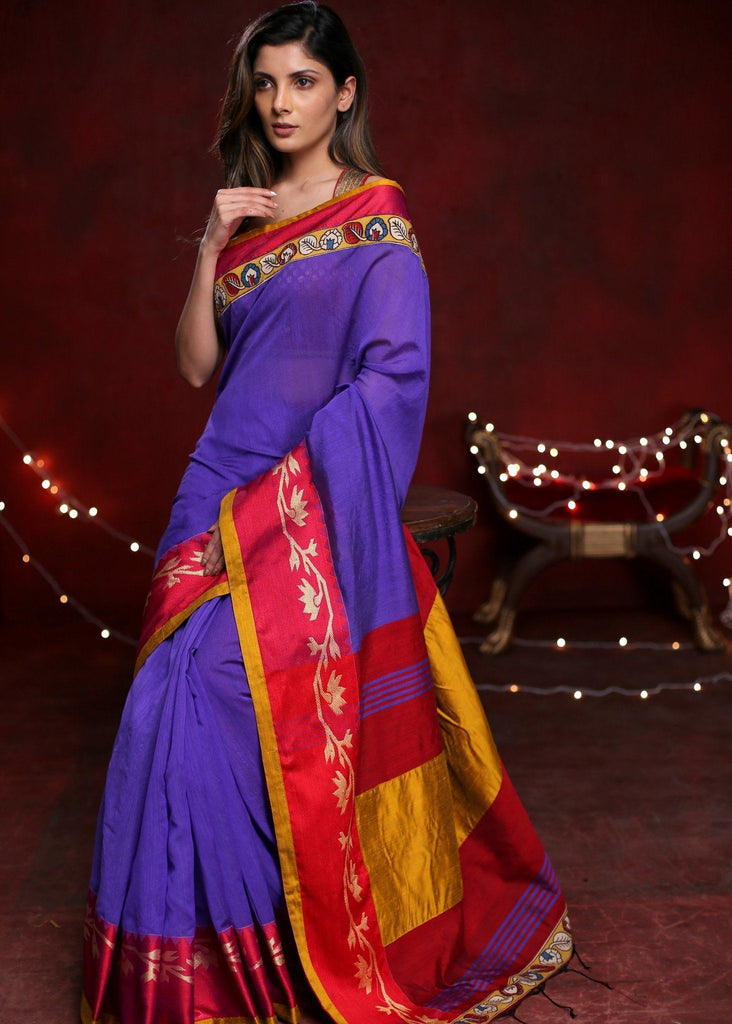 Purple handloom cotton saree with benarasi & printed kalamkari border - Sujatra