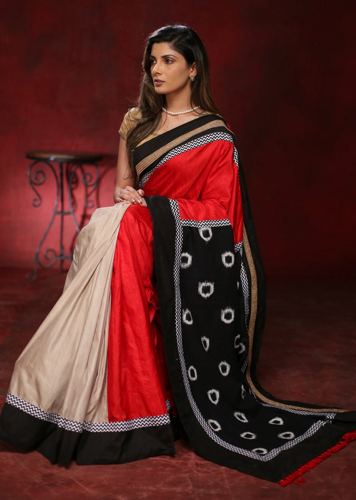 Red & Beige chanderi saree with ikat pallu and zari border - Sujatra