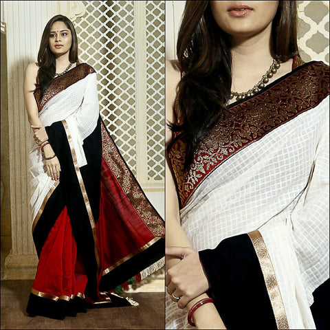 Red chanderi & off white handloom cotton with red slub silk pallu & zari border