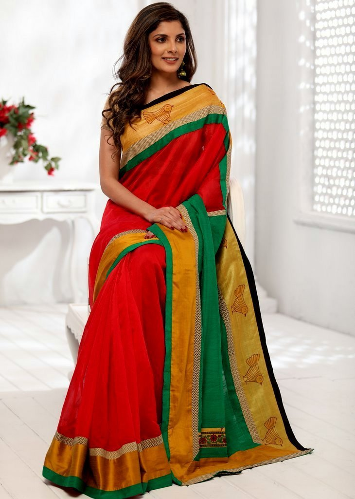 Saree - Red Chanderi Saree With Exclusive Printed Border