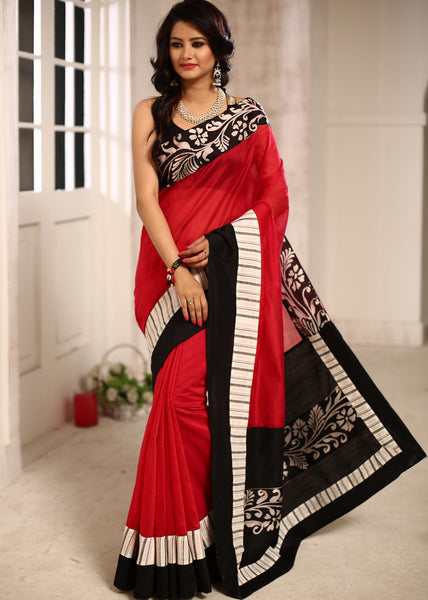Saree - Red Chanderi Saree With Hand Batik Work On Border And Pallu