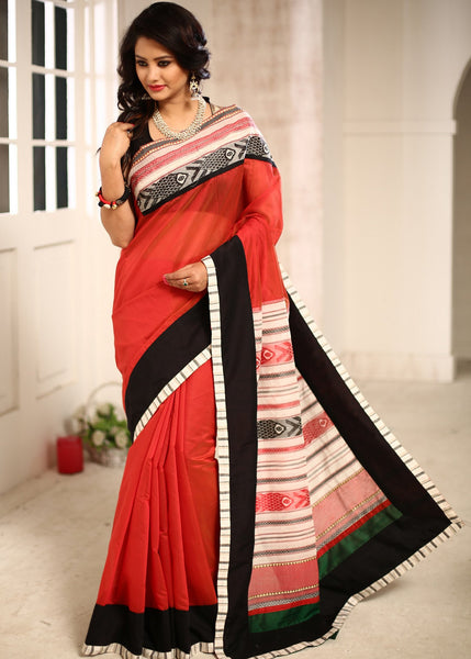 Saree - Red Chanderi Saree With Hand Woven Fish Motifs On Front And Pallu