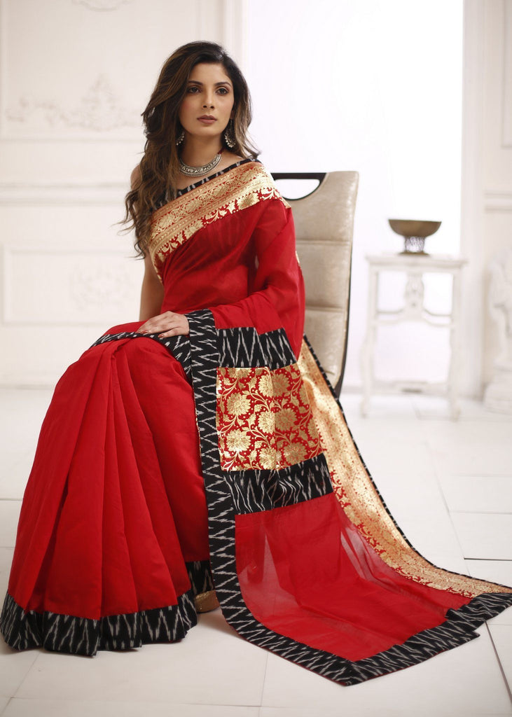 Saree - Red Chanderi Saree With Ikat And Benarasi Border Combination