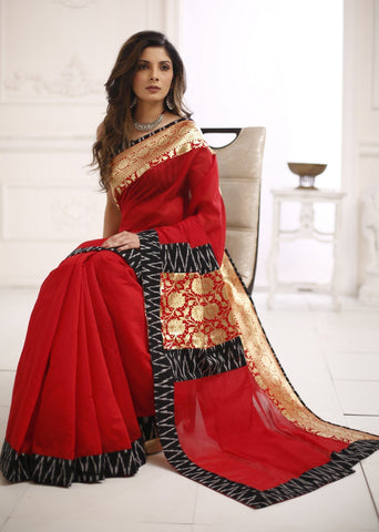 Red chanderi saree with ikat and benarasi border combination