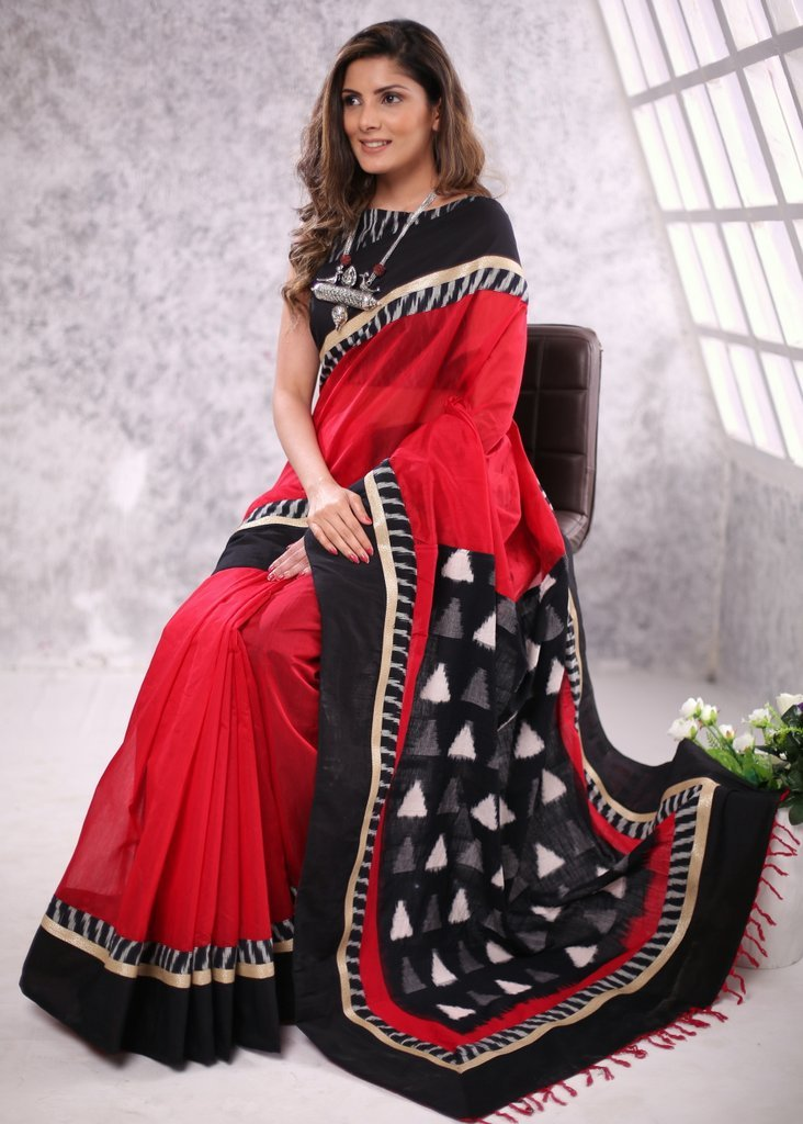 Saree - Red Chanderi Saree With Ikat Cotton Pallu & Border