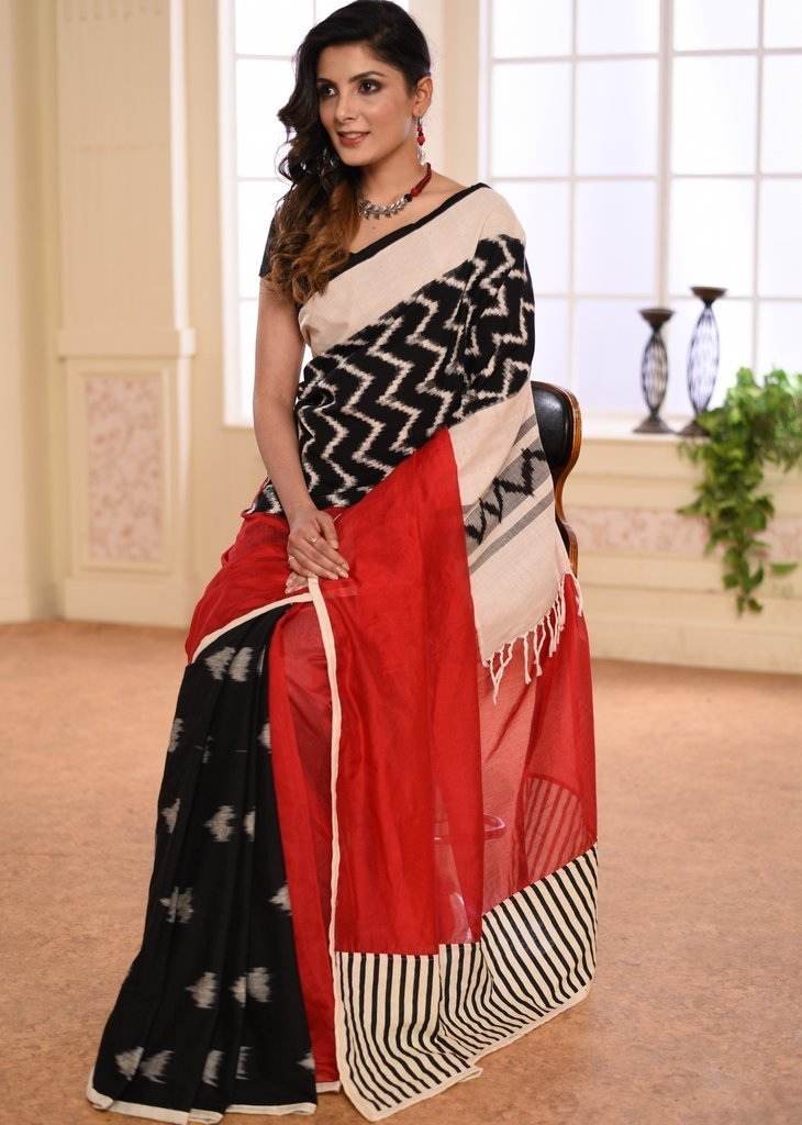 Saree - Red Chanderi Saree With Ikat Cotton Pleats & Ikat Border In Front