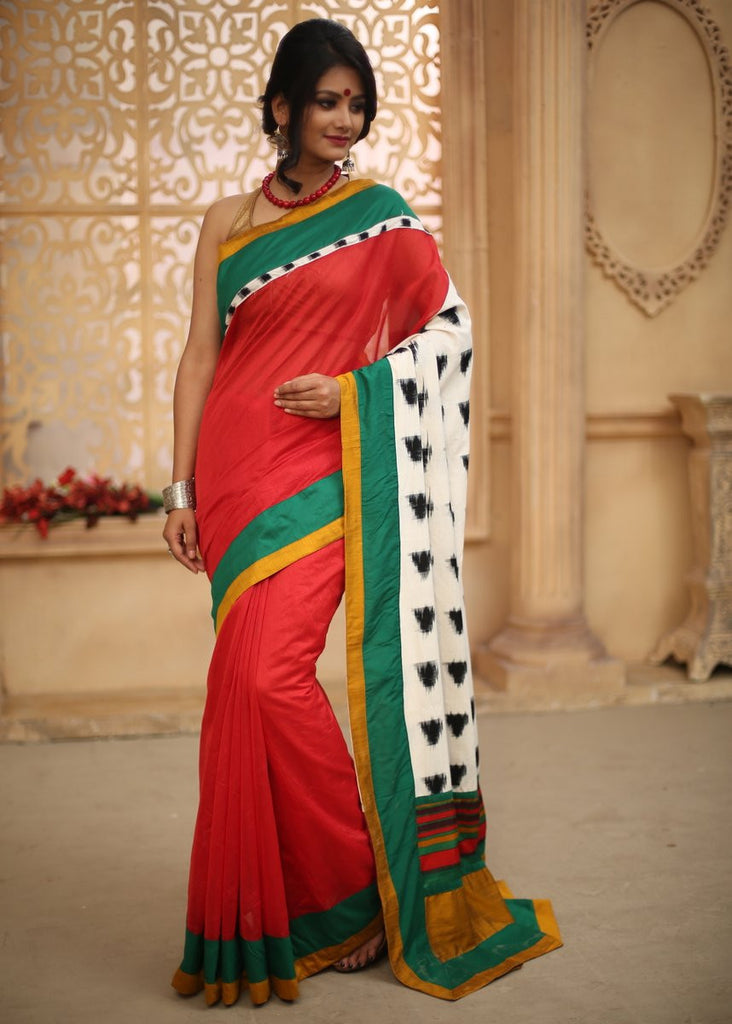 Saree - Red Chanderi With Ikat Pallu & Green & Yellow Border