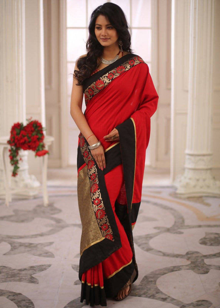 Saree - Red Cotton Handloom Saree With Zari Border & Pallu