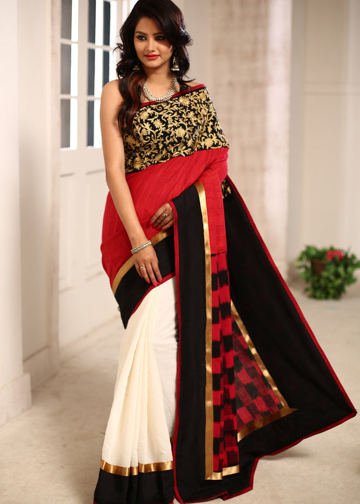 Red cotton silk saree with exquisite zari work and ikat pallu and white chanderi - Sujatra