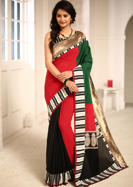 Saree - Red & Green Checks Handloom Cotton With Zari And Ikat Border Saree