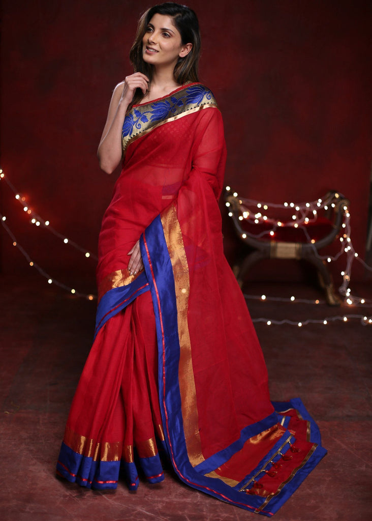 Saree - Red Handloom Cotton Saree With Benarasi Border