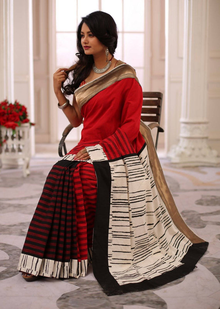 Red handloom cotton & striped handloom cotton pleats with abstract printed pallu & zari border saree - Sujatra