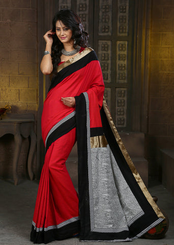 Red Handloom cotton with printed Madhubani work on pallu with zari border