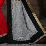Saree - Red Handloom Cotton With Printed Madhubani Work On Pallu With Zari Border