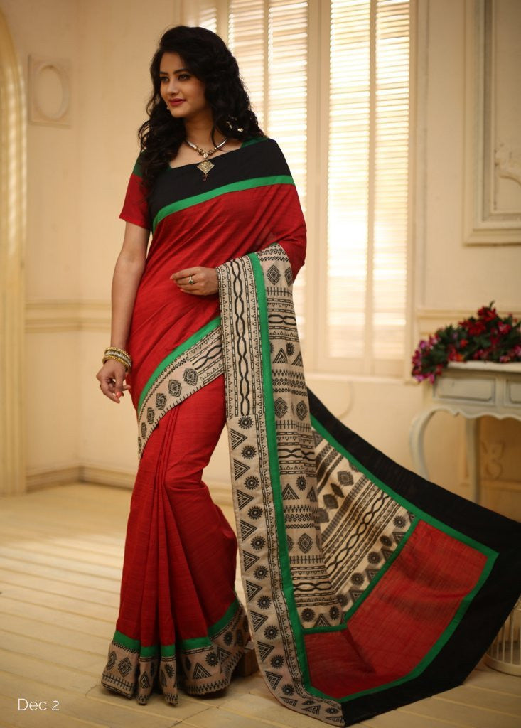 Saree - Red Handloom Cotton With Printed Pallu And Border