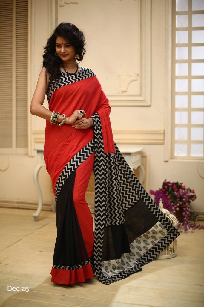Saree - Red Handloom Cotton With Zig Zag Printed Cotton Pallu With Black Chanderi Pleats