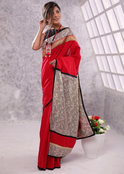 Saree - Red Pure Cotton Saree With Mantra Printed Pure Silk Pallu And Zari Border