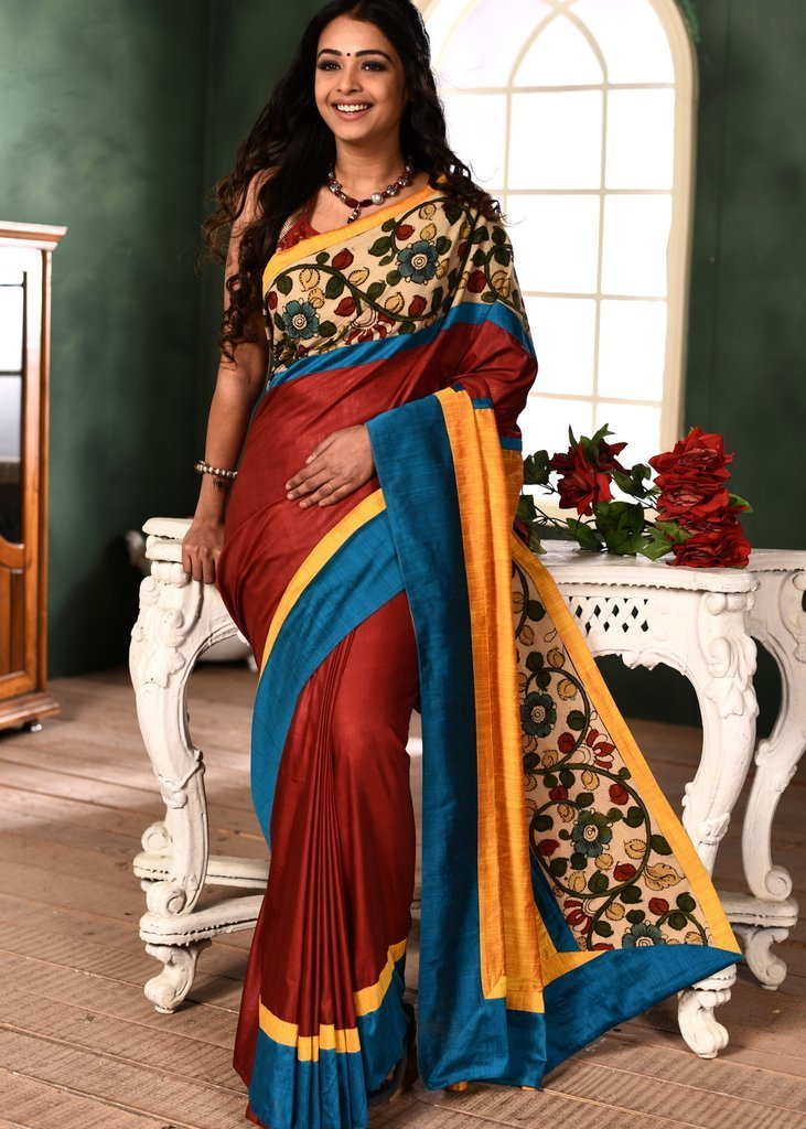Saree - Red Semi Silk Saree With Hand Painted Kalamkari Border