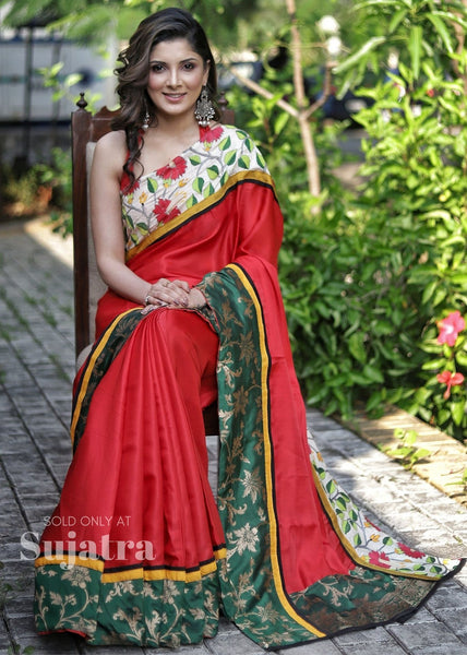 Saree - Red Semi Silk Saree With Kantha & Benarasi Work Borders