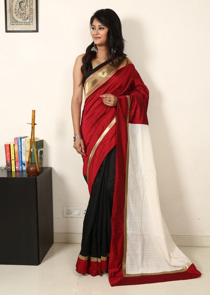 Saree - Red Slub Silk With Black Chanderi With Handloom White Pallu And Zari Border
