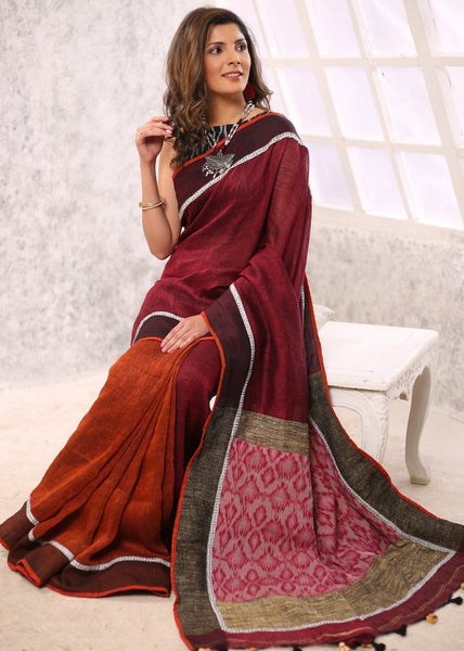 Saree - Rust Colooured Pure Linen Saree With Exclusive Ikat & Ghicha Pallu