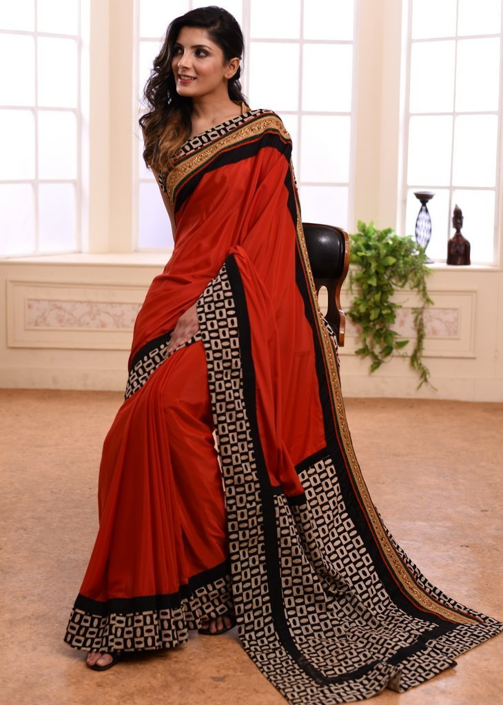 Saree - Rust Colored French Crepe Saree With Exclusive Zari Border& Printed Jute Cotton Pallu & Border