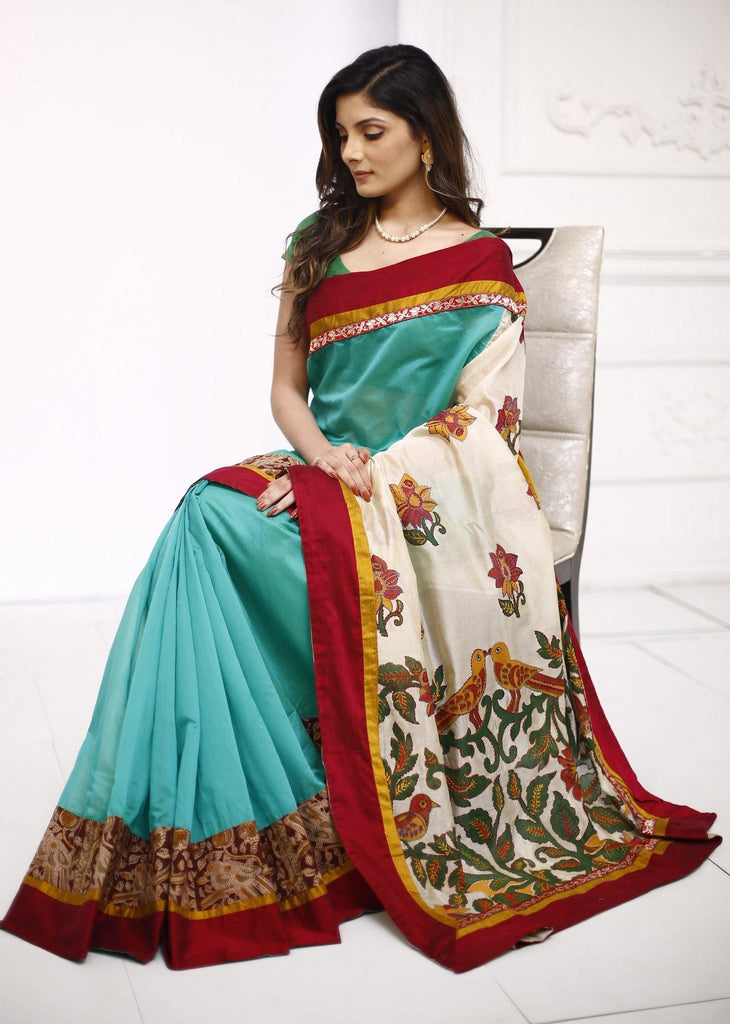 Sea green chanderi saree with unique embroidered pallu - Sujatra