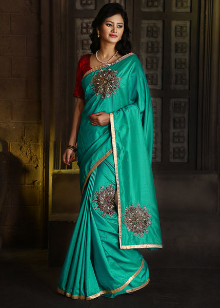 Saree - Sea Green Semi Crepe With Zardosi Work