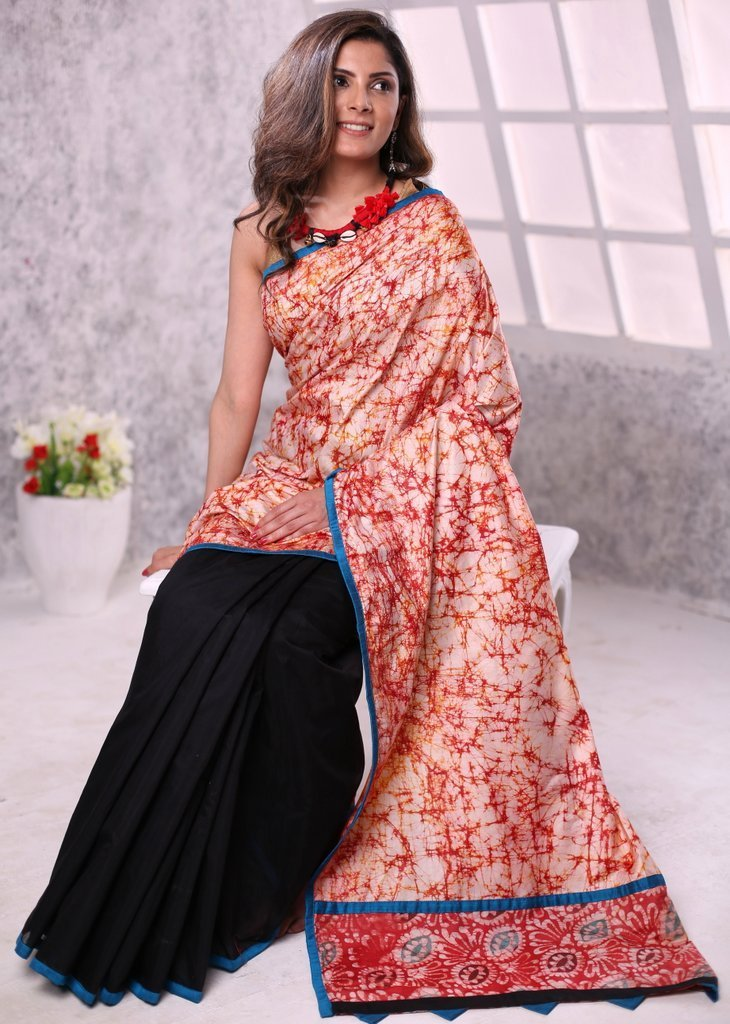 Saree - Shibori Work Combination With Black Chanderi Saree
