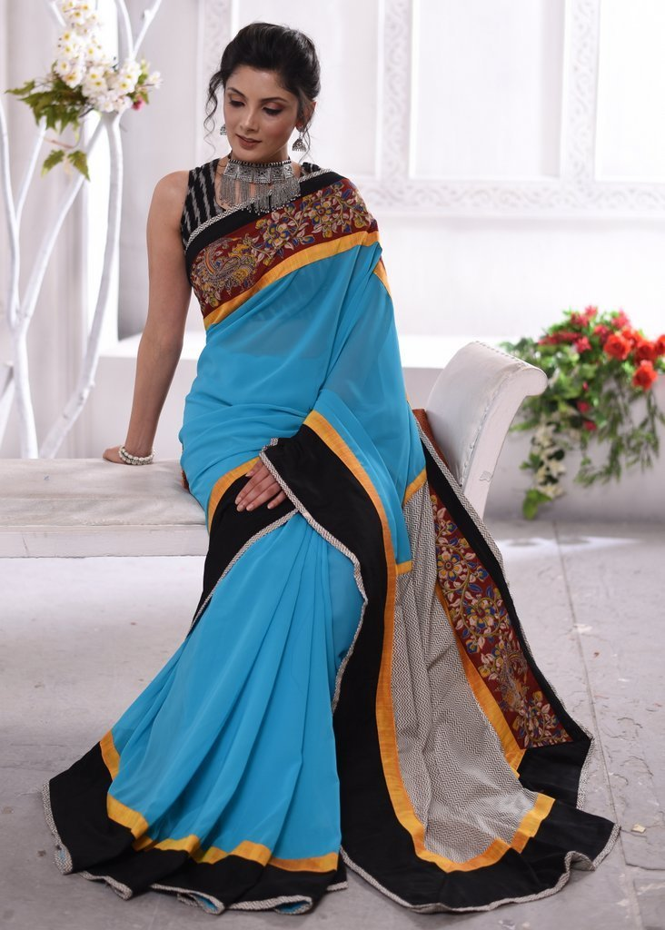 Saree - Sky Blue Georgette Saree With Kalamkari Border