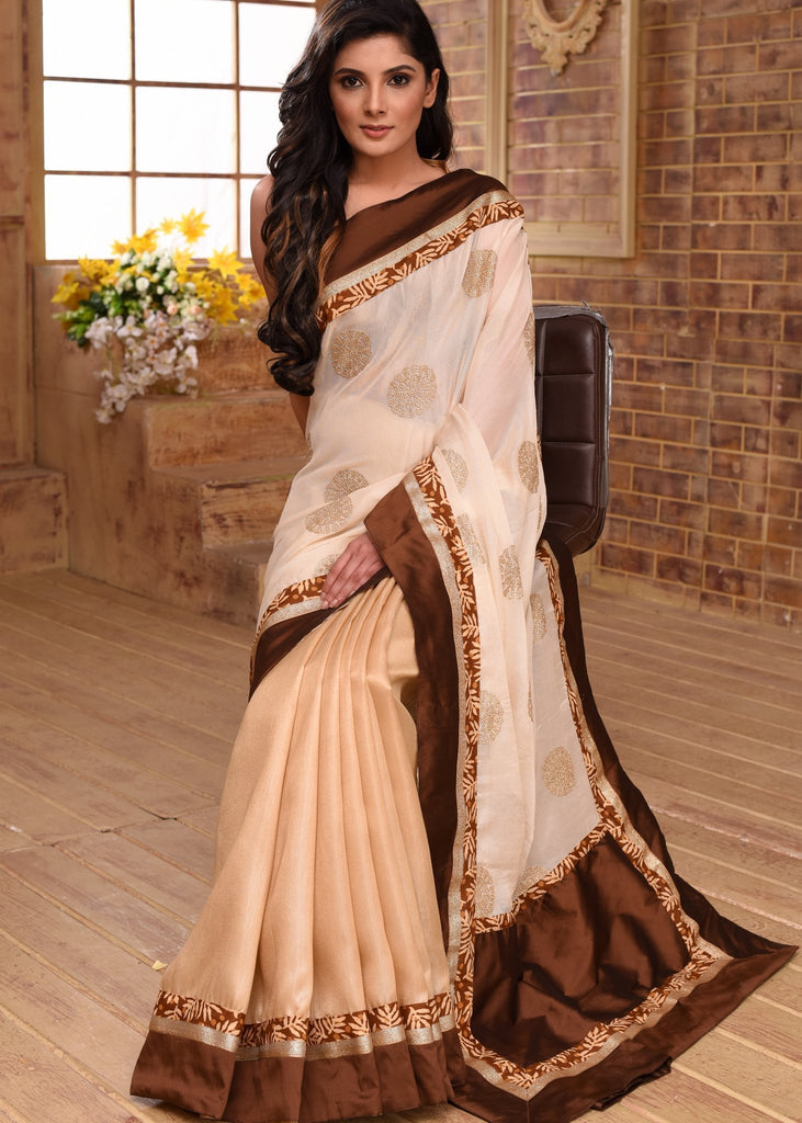 Saree - Soft & Elegant Benarasi Work Saree With Golden Pleats